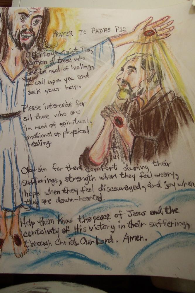 Padre Pio, Jesus Christ by cindykron